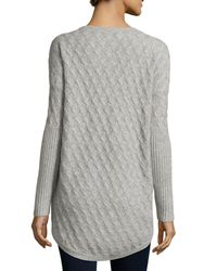 Neiman Marcus - Gray Cashmere High-low Tunic Sweater - Lyst