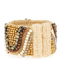 Panacea | Metallic Beaded Crystal & Stone Rope Cuff Bracelet | Lyst