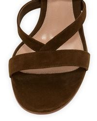 Gianvito Rossi - Black Ankle-Wrap Suede Sandals - Lyst