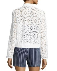 Laundry by Shelli Segal - White Semisheer Lace Bomber Jacket - Lyst