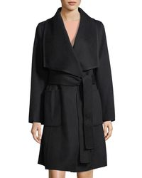Diane von Furstenberg - Black Double-face Wool Wrap Coat - Lyst