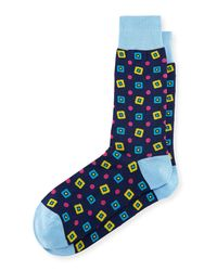 Bugatchi - Blue Diamond-print Cotton-blend Socks for Men - Lyst