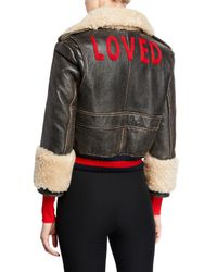 Gucci Multicolor Loved Rose Embellished Leather Jacket W/ Shearling Lining
