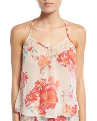 Band Of Gypsies   Multicolor Floral-print Chiffon Racerback Camisole   Lyst