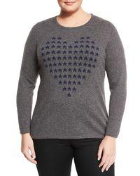 Neiman Marcus | Gray Cashmere Heart Intarsia Sweater | Lyst