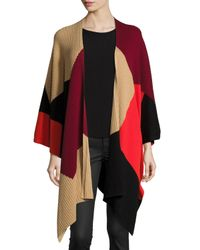 Vince Camuto - Red Colorblock Ribbed Poncho - Lyst