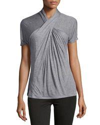 Halston | Gray Short-sleeve Crisscross Top | Lyst