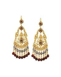 Jose & Maria Barrera | Metallic Golden Crystal & Jasper Chandelier Earrings | Lyst