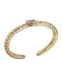 John Hardy - Metallic Batu Naga 18k Gold & Diamond Slim Dragon Cuff - Lyst