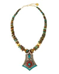 Devon Leigh | Multicolor Turquoise Slab-beaded Necklace W/ -inspired Pendant | Lyst