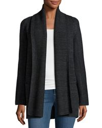 Vince - Black Open-front Car Coat Sweater - Lyst