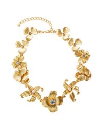 Kenneth Jay Lane | Metallic Golden Flower Statement Necklace With Pearly Beads | Lyst
