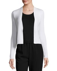 Theory   White Long-sleeve Open-front Cropped Cardigan   Lyst