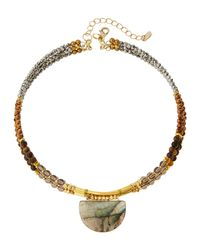 Nakamol | Multicolor Beaded Triple-strand Labradorite Choker Necklace | Lyst