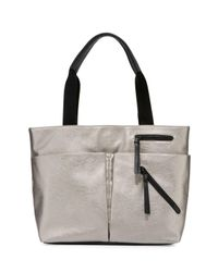 Neiman Marcus | Gray Utility Zip Leather Tote Bag | Lyst