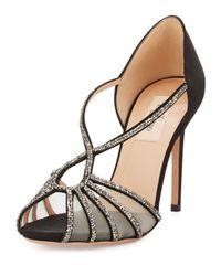 Valentino - Black Crystal Strappy Open-toe Pump - Lyst