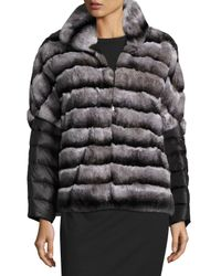Gorski | Gray Rabbit Fur Jacket W/ Removable Down Sleeves | Lyst