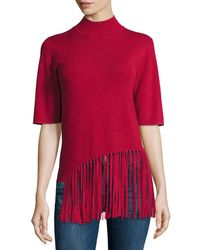 Philosophy - Black Half-sleeve Sweater With Fringe Front - Lyst