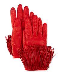 Diane von Furstenberg - Red Leather Gloves With Fringe Trim - Lyst