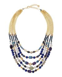 Nakamol - Blue Multi-strand Agate Beaded Collar Necklace - Lyst