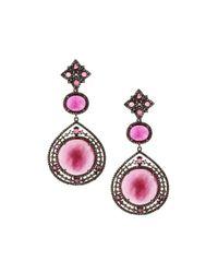 Bavna | Multicolor Composite Ruby & Champagne Diamond Triple-drop Earrings | Lyst