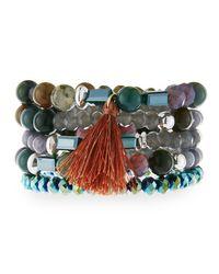 Nakamol - Multicolor Multi-row Crystal Stretch Bracelet - Lyst