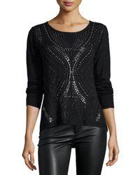 Alberto Makali - Black Long-sleeve Stud-embellished Top - Lyst