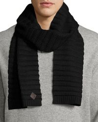 Cole Haan - Black Ottoman Wool-blend Scarf for Men - Lyst