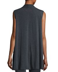 Max Studio | Gray Sleeveless Terry Zip-front Cardigan | Lyst