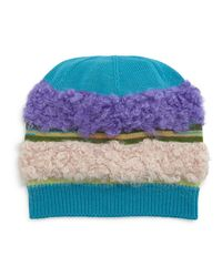 Missoni - Blue Fuzzy Striped Knit Hat - Lyst