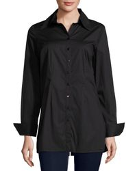 Neiman Marcus | Black Button-front Spread-collar Blouse | Lyst