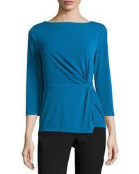 Tahari | Blue Side-knot Jersey Top | Lyst