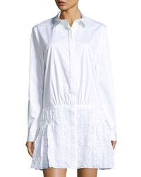 Thakoon | White Shirtdress W/ Eyelet Skirt | Lyst