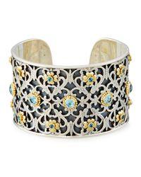 Konstantino | Color Classics Floral Cuff Bracelet W. Blue Topaz | Lyst
