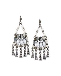 Lydell NYC | Metallic Mixed Crystal & Simulated Pearl Chandelier Earrings | Lyst