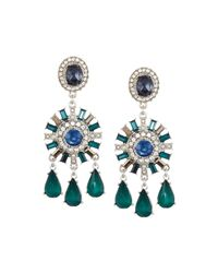 Lydell NYC | Green Mixed Crystal & Simulated Pearl Chandelier Earrings | Lyst
