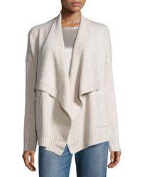 Vince | Natural Wool-cashmere Drape-front Cardigan | Lyst