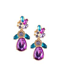 Fragments   Multicolor Statement Floral Crystal Drop Earrings   Lyst