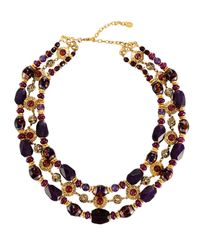 Jose & Maria Barrera | Purple Triple-row Agate & Glass Beaded Collar Necklace | Lyst