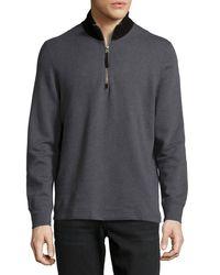 Billy Reid | Gray Ike Zip-front Pullover Sweater for Men | Lyst