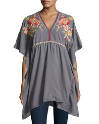 Johnny Was   Gray Cherise V-neck Embroidered Poncho Top   Lyst