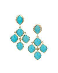 Elizabeth Showers | Blue Simone Turquoise & Diamond Chandelier Earrings | Lyst