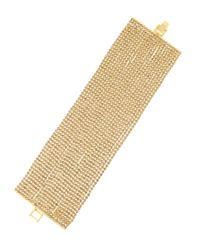Kenneth Jay Lane | Metallic 22-row Golden Rhinestone Bracelet | Lyst