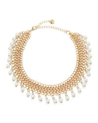 Lydell NYC | White Chain-link Choker Necklace W/ Pearly Drops | Lyst