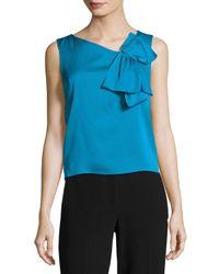 MILLY | White Origami-bow Stretch-silk Shirt | Lyst