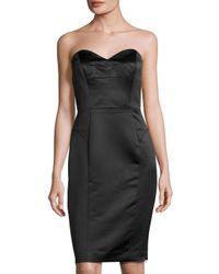 MILLY   Black Marta Duchess Satin Strapless Dress   Lyst