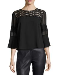19 Cooper | Black Lace-yoke Bell-sleeve Top | Lyst
