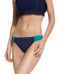 Tommy Bahama | Blue Deck Piping Side-shirred Bikini Bottom | Lyst