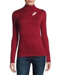 Catherine Malandrino | Black Keyhole Cutout Mock-neck Sweater | Lyst