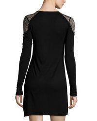 Lamade - Black Lace-shoulder Scoop-neck Dress - Lyst